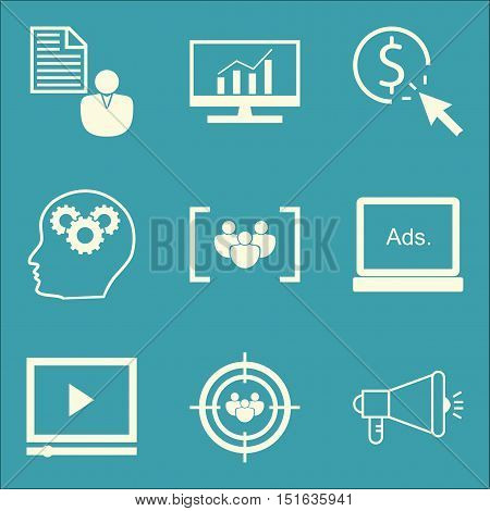 Set Of Seo, Marketing And Advertising Icons On Focus Group, Client Brief, Audience Targeting And Mor