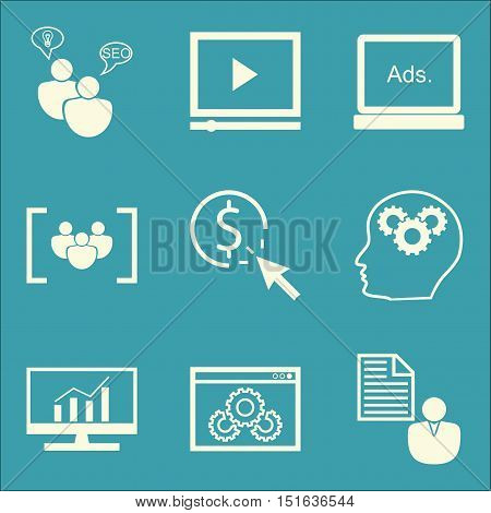 Set Of Seo, Marketing And Advertising Icons On Video Advertising, Comprehensive Analytics, Website O