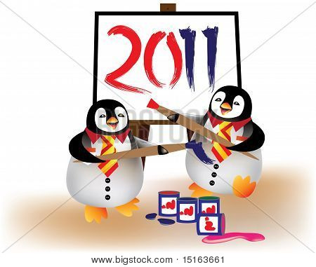 Penguins painting year 2011