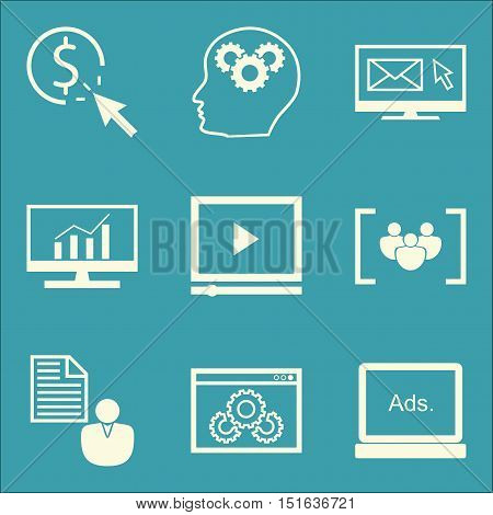 Set Of Seo, Marketing And Advertising Icons On Client Brief, Video Advertising, Focus Group And More