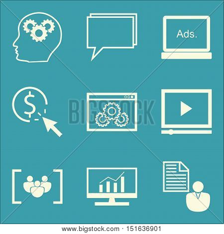 Set Of Seo, Marketing And Advertising Icons On Display Advertising, Client Brief, Creativity And Mor