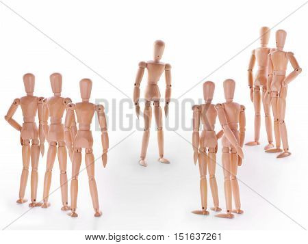 Scene with group of dummies group of characters standing around one. Concept of accusation guilty person bulling or outcast in the team. On white background