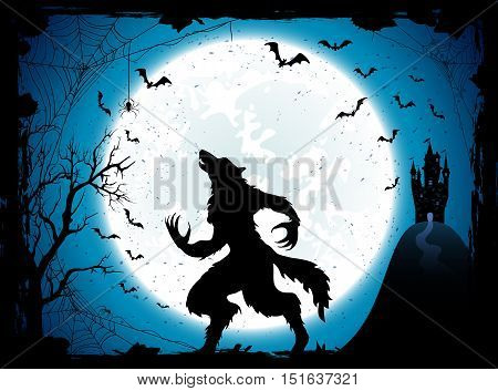 Dark Halloween background with Moon on blue sky, castle and werewolf, grunge decoration with cobweb, spiders and flying bats, illustration.