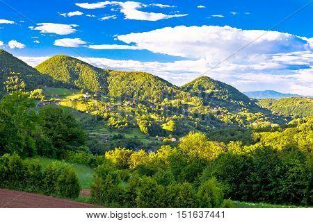 Hillside village on Zumberak green hills Plesiveica northern Croatia