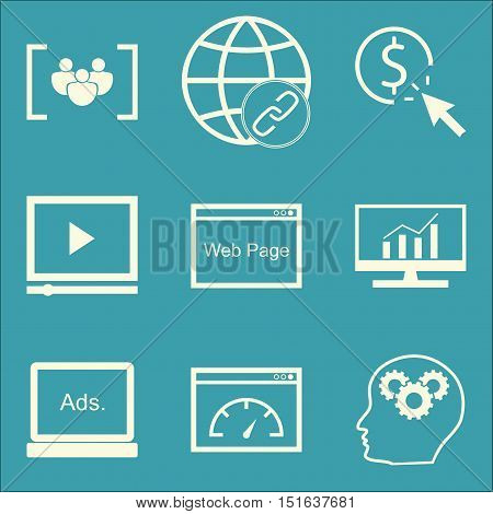 Set Of Seo, Marketing And Advertising Icons On Comprehensive Analytics, Focus Group, Link Building A