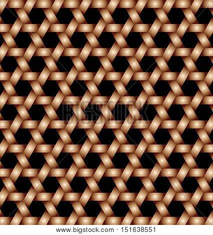 Abstract modern bronze lattice with hexagon cutout background