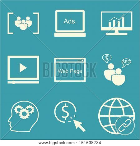 Set Of Seo, Marketing And Advertising Icons On Focus Group, Comprehensive Analytics, Pay Per Click A