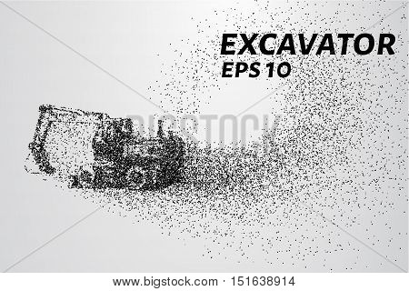 The excavator of the particles. The excavator consists of small circles. Vector illustration