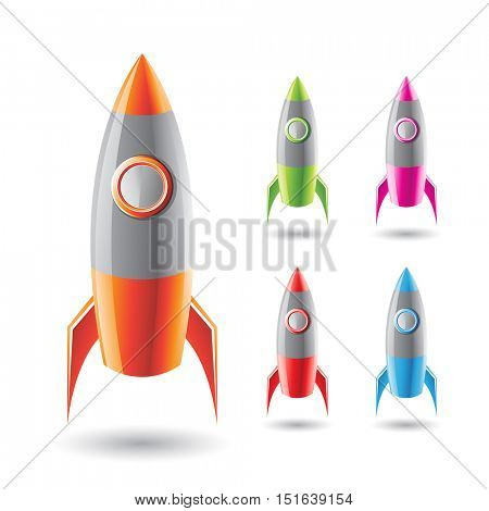 Vector Illustration of Colorful Rockets with Grey Body isolated on a White Background
