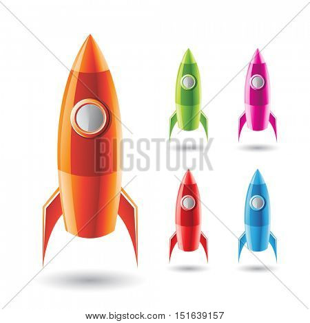 Vector Illustration of Colorful Rockets isolated on a White Background