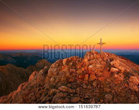 Peak Of Hoher Göll. Iron Cross At Mountain Top In Alp At Austria Germany Border.
