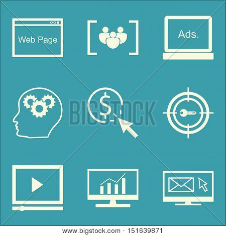Set Of Seo, Marketing And Advertising Icons On Comprehensive Analytics, Pay Per Click, Focus Group A
