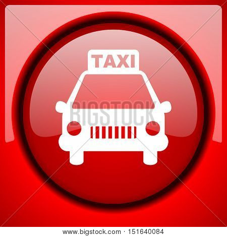 taxi red icon plastic glossy button