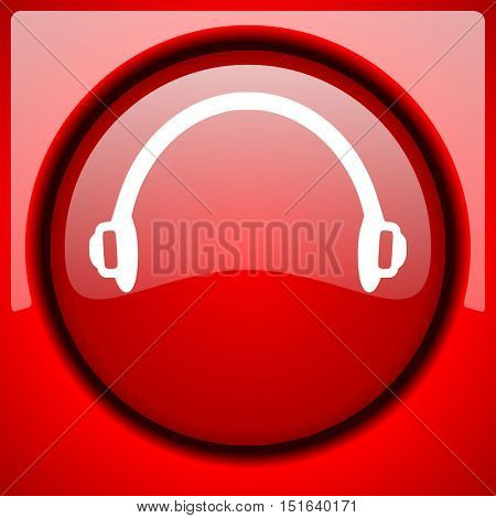 headphones red icon plastic glossy button