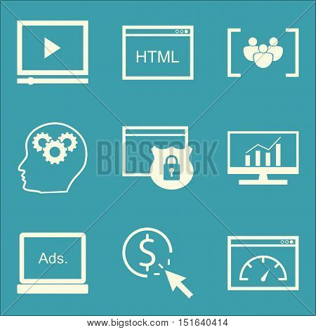 Set Of Seo, Marketing And Advertising Icons On Comprehensive Analytics, Website Protection, Creativi