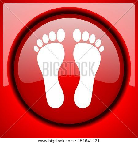 foot red icon plastic glossy button