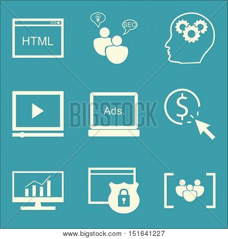 Set Of Seo, Marketing And Advertising Icons On Focus Group, Website Protection, Comprehensive Analyt