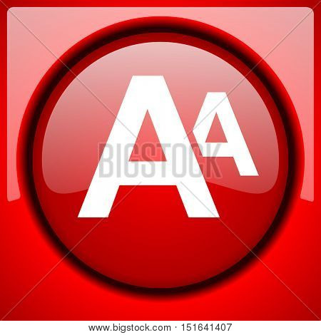 alphabet red icon plastic glossy button
