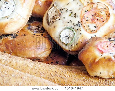 Bread and bakery products on bazaar in Tel Aviv IsraelJanuary 12 2011