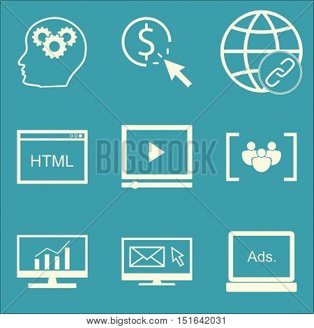 Set Of Seo, Marketing And Advertising Icons On Html Code, Email Marketing, Comprehensive Analytics A