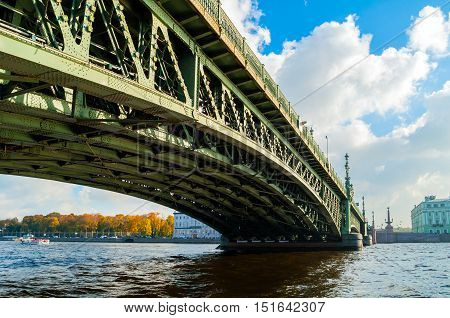 Trinity Bridge - bascule bridge across the Neva in St. Petersburg Russia. It was the third permanent bridge in St. Petersburg across the Neva built between 1897 and 1903