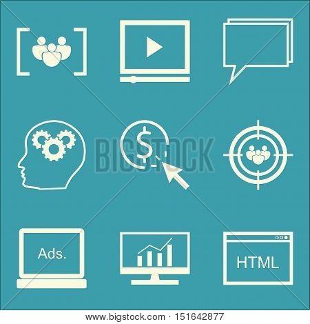 Set Of Seo, Marketing And Advertising Icons On Comprehensive Analytics, Online Consulting, Creativit
