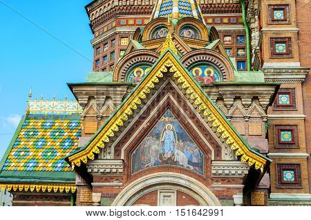 Cathedral of Our Savior on Spilled Blood in St. Petersburg Russia - closeup of decorations and architecture details. Architecture closeup view of St. Petersburg landmark