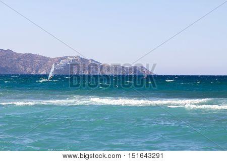 Windsurfer off the coast of Crete, Greece
