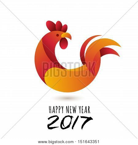 Happy New Year 2017. Vector Greeting Card With Red Rooster Modern Symbol Of 2017 And Calligraphy.