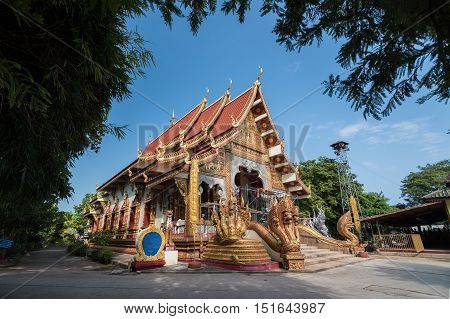 CHIANG RAI THAILAND - OCTOBER 13 2016 - Pagoda tilt in Wat Phra Chao Lan Thong is located within the city walls of Chiang Saen and was built by Prince Thong Ngua a son of King Tilokkarat.