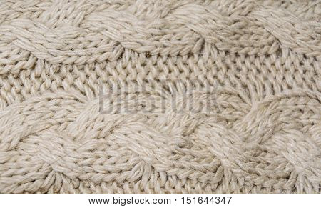 Fragment of knitting patterns. Artificial wool. Close-up.