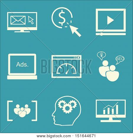 Set Of Seo, Marketing And Advertising Icons On Seo Consulting, Comprehensive Analytics, Email Market