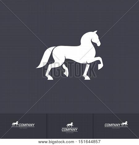 Stylized White Horse for Mascot Logo Template on Dark Background