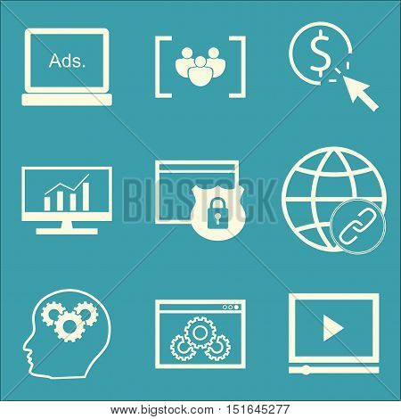 Set Of Seo, Marketing And Advertising Icons On Website Optimization, Display Advertising, Comprehens