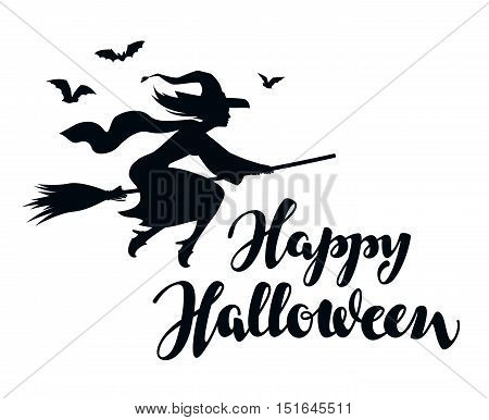 Happy Halloween. Silhouette witch flying on broomstick