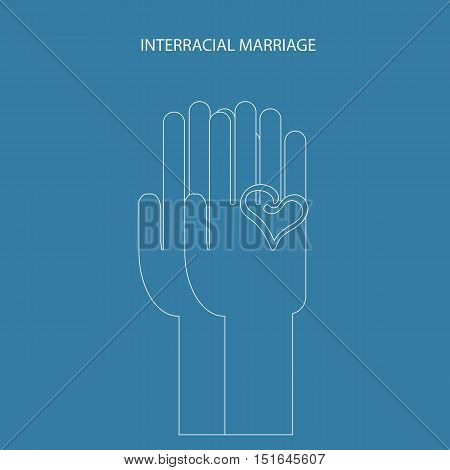 two hands in linear style. Interracial marriage symbol