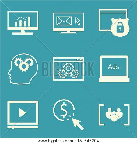 Set Of Seo, Marketing And Advertising Icons On Comprehensive Analytics, Focus Group, Email Marketing