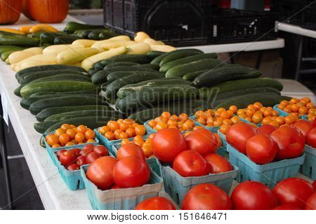 Colorful veggies awaiting purchase at the local farmer's market.