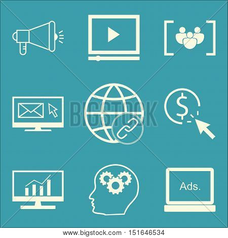 Set Of Seo, Marketing And Advertising Icons On Comprehensive Analytics, Display Advertising, Email M