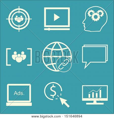 Set Of Seo, Marketing And Advertising Icons On Creativity, Comprehensive Analytics, Online Consultin