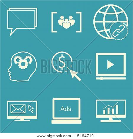 Set Of Seo, Marketing And Advertising Icons On Display Advertising, Comprehensive Analytics, Creativ