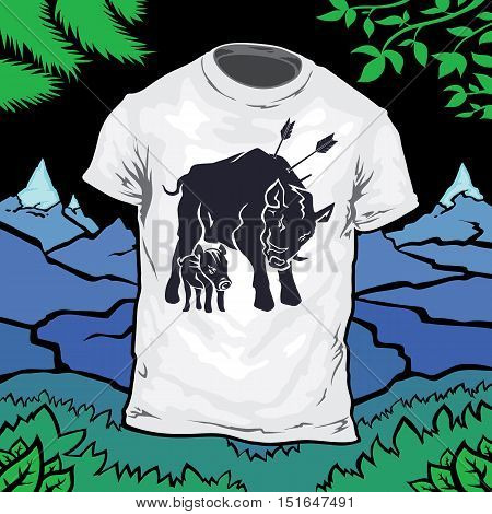 Vector isolated pattern T-shirt with the image of the silhouette of the wild boar and pig. Emblem logo boar pierced by arrows.