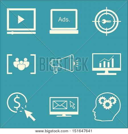 Set Of Seo, Marketing And Advertising Icons On Video Advertising, Display Advertising, Email Marketi