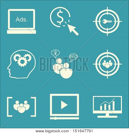 Set Of Seo, Marketing And Advertising Icons On Comprehensive Analytics, Video Advertising, Target Ke