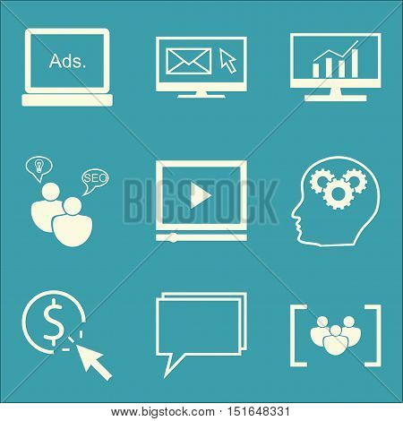 Set Of Seo, Marketing And Advertising Icons On Comprehensive Analytics, Seo Consulting, Focus Group
