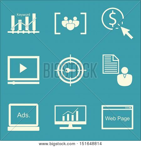 Set Of Seo, Marketing And Advertising Icons On Video Advertising, Client Brief, Target Keywords And