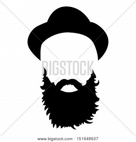 Hipster detailed hat and beard. Fashion bearded man silhouette. Black beard isolated on white background. Vector illustration