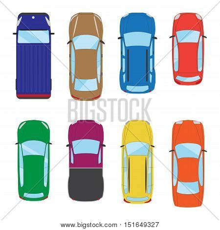 Collection of various isolated cars icons. Car top view illustration. Vector eps 10