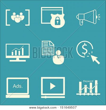 Set Of Seo, Marketing And Advertising Icons On Video Advertising, Client Brief, Comprehensive Analyt