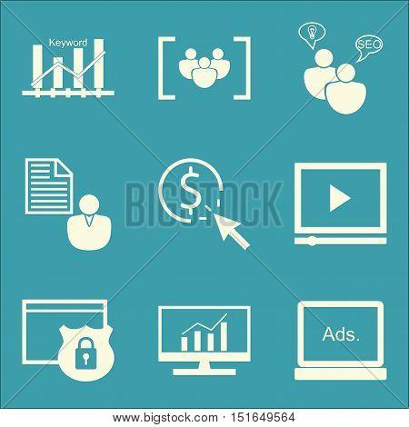 Set Of Seo, Marketing And Advertising Icons On Keyword Ranking, Display Advertising, Video Advertisi